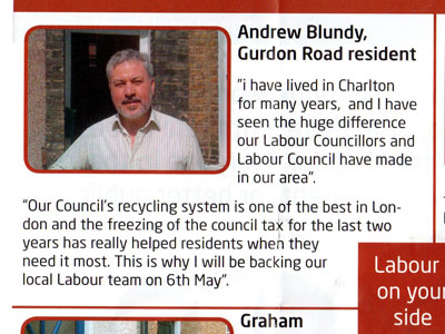 Peninsula ward Labour leaflet, distributed 1-3 May 2010