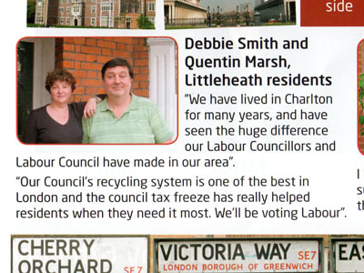 Charlton ward Labour leaflet, delivered 3 May 2010