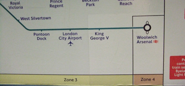 Woolwich Arsenal is the only DLR station in zone 4
