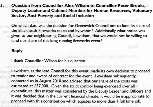 Written answer from Greenwich full council meeting, 27 October