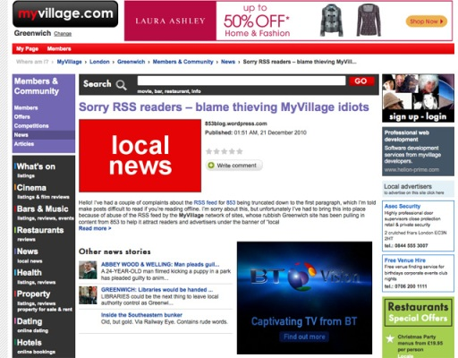 853's post 'Sorry RSS readers ? blame thieving MyVillage idiots' was pumped straight into myvillages.com
