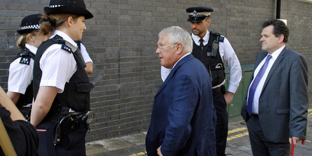 Roberts with now-colleague Bob Neill after the Woolwich riot in 2011