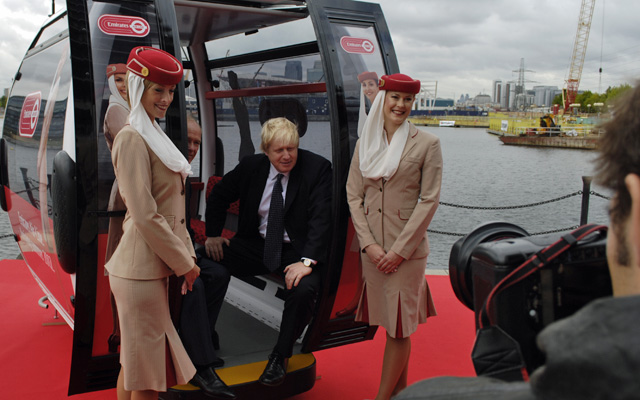 Boris Johnson launching the cable car in 2011