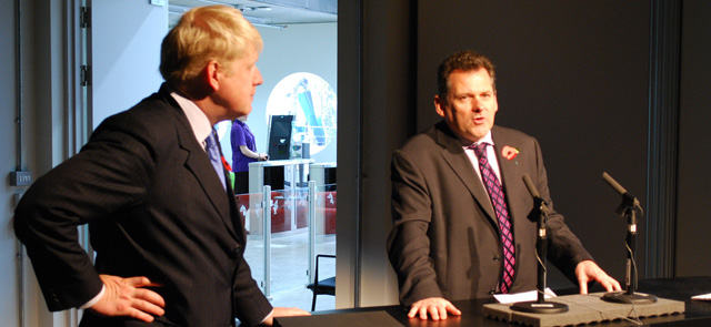 Roberts with London mayor Boris Johnson at the opening of Ravensbourne college in 2010