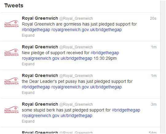 Greenwich Council's Twitter feed