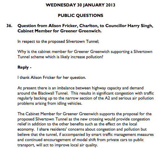 Harry Singh's written response, Greenwich Council meeting January 2013