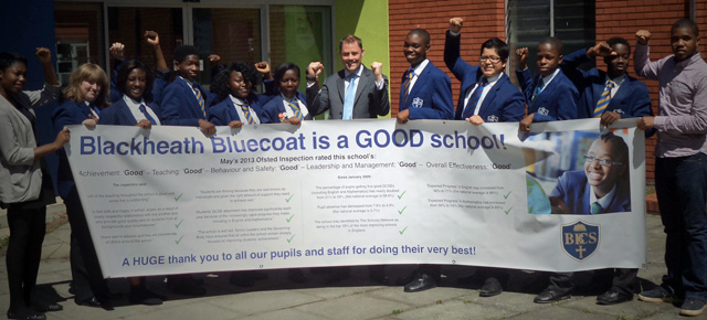 Blackheath Bluecoat headteacher and students, 5 June 2013