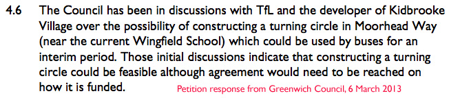 Petition response from Greenwich Council, 6 March 2013