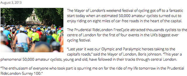 Prudential Ride London website