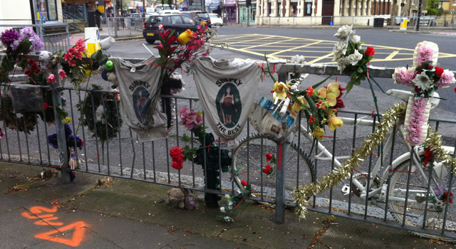 Why this matters - the memorial placed for 66-year-old Stella Chandler, who was hit by a lorry at Vanburgh Hill, Greenwich, in 2009