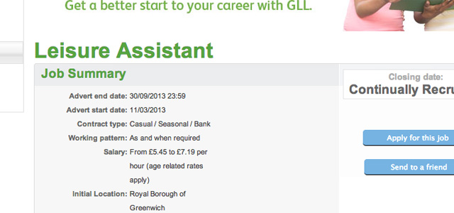 GLL job ad, 28 September 2013