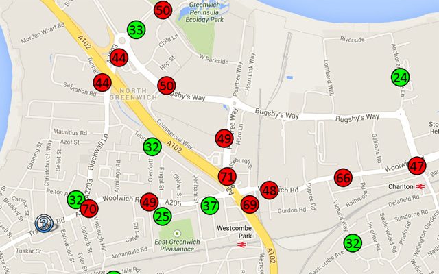 An excerpt from the No to Silvertown Tunne pollution map. Click for more.