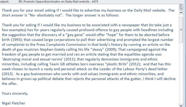 Nigel Fletcher's email to the Mail