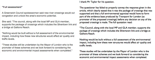 Greenwich Counciil response on Silvertown/ News Shopper story