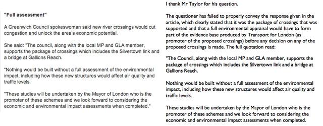 Greenwich Counciil response on Silvertown/ News Shopper story