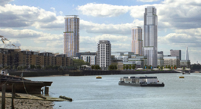 Convoys Wharf from Greenwich