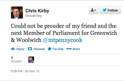 Chris Kirby's tweet