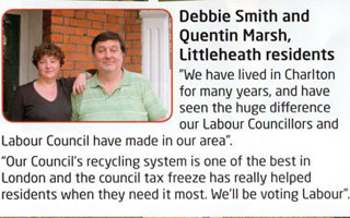 Quentin Marsh and Debbie Smith, Labour leaflet 2010