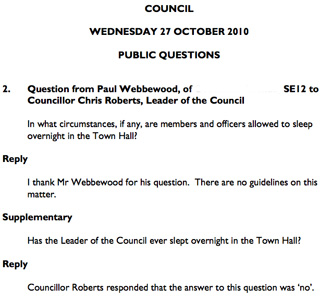 Greenwich Council meeting minutes, 27 October 2010