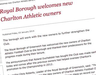 Greenwich Council press reelase