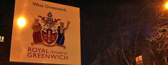 """West Greenwich"" sign, Creek Road, Deptford"