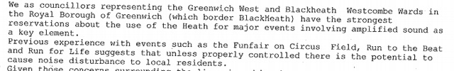 Greenwich councillors' objection email