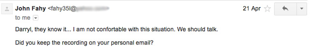 Email purporting to be from John Fahy