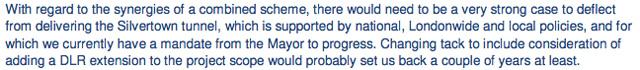 Email from TfL's Tony Wilson