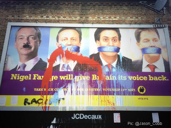 A vandalised Ukip poster in East Dulwich. But how will voters in Greenwich borough treat the hard-right party?