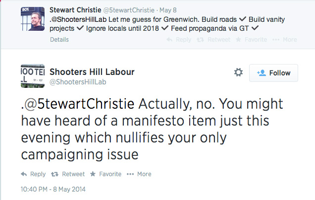 Shooters Hill Labour Twitter exchange