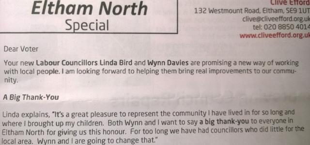 Eltham North Labour leaflet