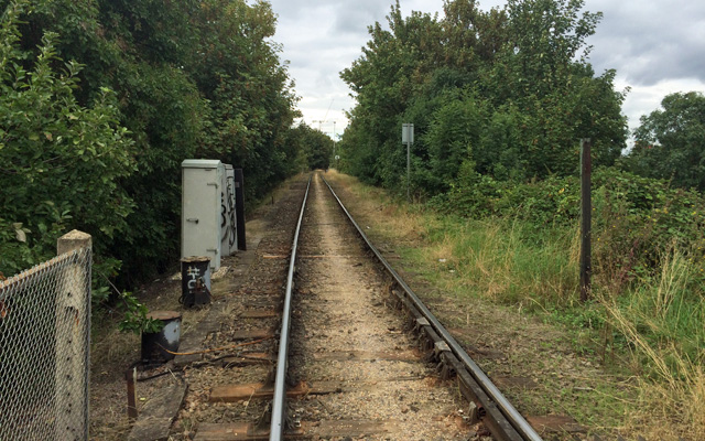 Deceptively rural-looking: The Angerstein Wharf freight line line