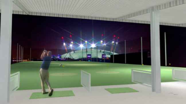 Driving range at Greenwich Peninsula