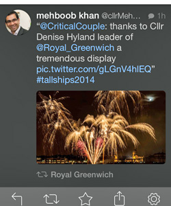 Mehbooh Khan tweet retweeted by Greenwich Council
