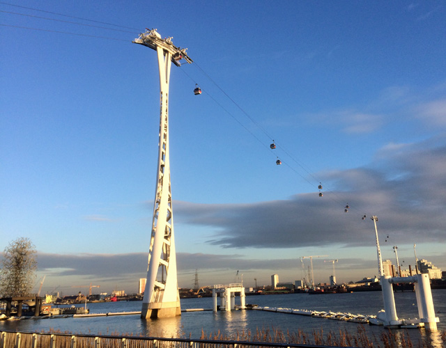Spot the commuter: The cable car during Tuesday morning's rush hour