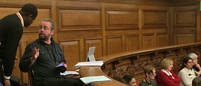 Stewart Christie remonstrates with a Greenwich Council security guard over filming the meeting