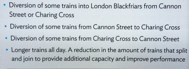 "In English: ""Some trains will be longer. Trains may also run to different terminals."""