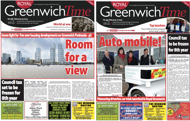 Greenwich Time, 25 February 2014 and 17 February 2015