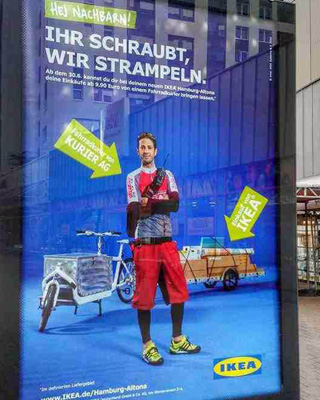 On your bike: Ikea advertises cargo cycle deliveries from its Altona store (photo: Chris Taylor)