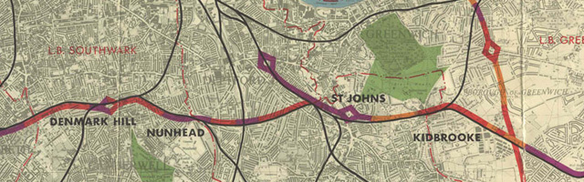 The GLC's South Cross Route from 1966, which would have smashed through Brockley - image from cbrd.co.uk.