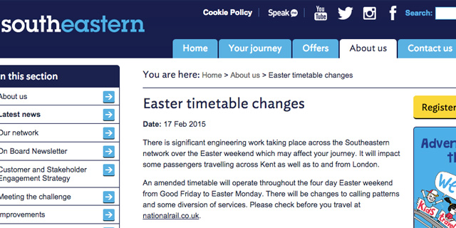 Southeastern website, 17 February 2015