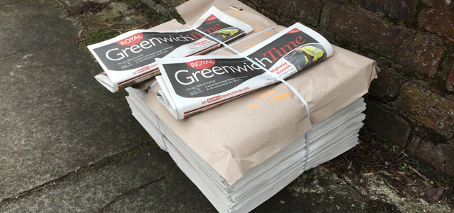 Greenwich Time bundles awaiting delivery in Charlton