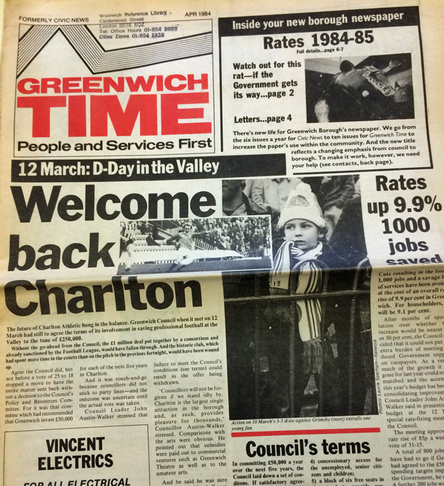 Greenwich Time, April 1984