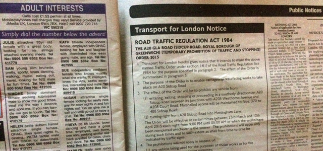 Red light: Transport for London notices sit next to contact and escort ads in the Mercury