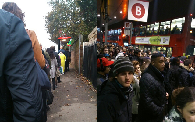 Day and night: The huge queue for the single-decker 108 at Stratheden Road, Blackheath; and the struggle to get home when there's an event on. Thanks to Ruth Townson for the pictures.