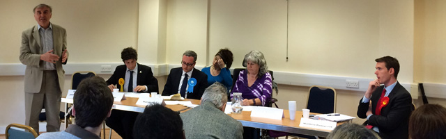 Where's Abbey?: Phil Connolly (left) stands in for the Green candidate on Wednesday in Greenwich