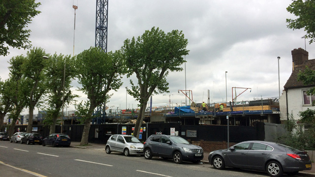 The site of the Ibis Styles, Tunnel Avenue, with Blackwall Tunnel traffic jam behind