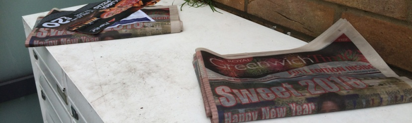 Abandoned copies of Greenwich Time left at flats in Charlton last week