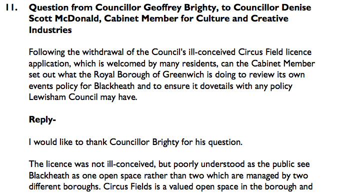 Greenwich Council written response