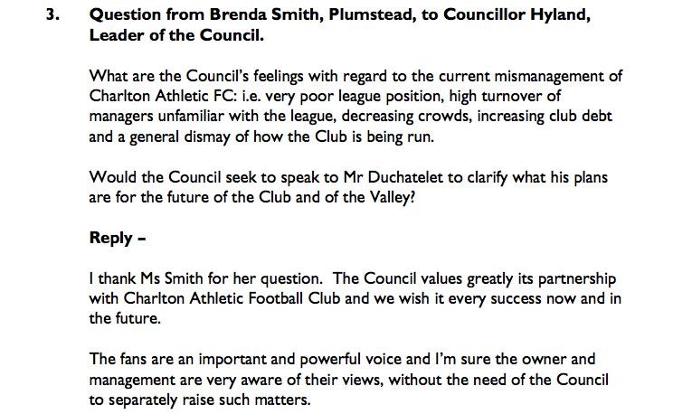 Greenwich Council written response